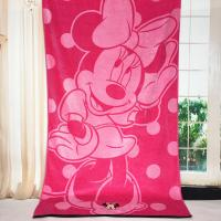 China Plain Woven Jacquard Beach Towel Minnie Mickey Mouse Reactive Printed wholesale