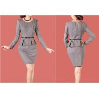 China Fashion Ladies Business Suits , Women's Gray Knee Length Peplum Dress on sale