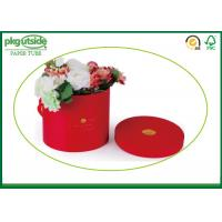 China Red Bouquet Flower Boxes Custom Round Tubes For Rose Packaging With Handle wholesale