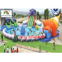 China 30M diameter Water Park With 3 Awesome Inflatable Water Slides And Other Water Games wholesale
