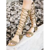 China Latest Brand Designer Bandage Lace Knee High Hollow Out Flat Gladiators Boots For Women Summer Shoes wholesale