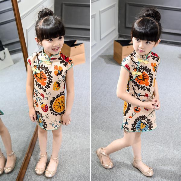 Quality 2016 Fashion Girl Kid's Chinese Style Dress Cheongsam Cute dress for sale