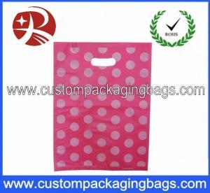 China Pink Dot Printed Die Cut Handle Plastic Bags Waterproof For Supermarket on sale