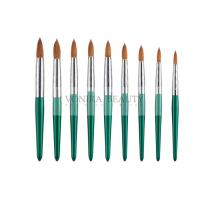 China Fashion Green Nail Art Paint Brushes Kolinsky Hair And Carved Ferrule on sale