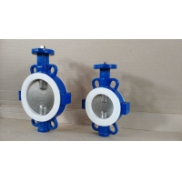 China DN100 PTFE Seated Ductile Iron Split Wafer Butterfly Valve on sale