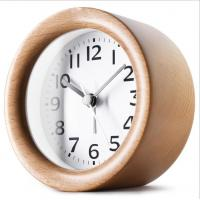 China Round Shape Wood Grain Alarm Clock Stopwatch Movement Type 1*AAA Battery Powered on sale