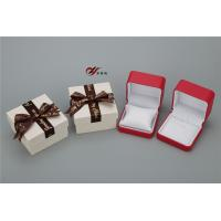 China Red PU Leather Bangle Box With White Pillow And Bowknot Outer Box wholesale