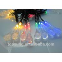 China led solar lights water drop 5m 20leds colorful chiristmas lights wholesale