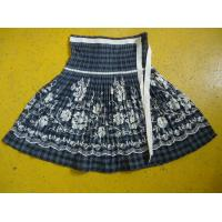 China 100% Cotton Little Girl Floral Dress , Ribbons Waist Girls Pleated Skirt For Age 7 wholesale