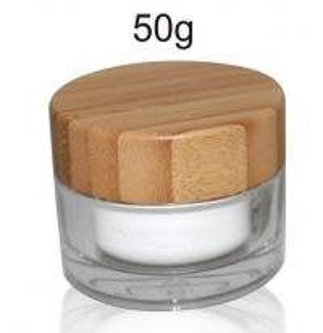 China 50ml cosmetic acrylic jar with nature bamboo cap wholesale