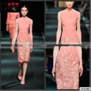 China 2015 Autumn/Winter Fashion Lace Skirt Sleeveless Knee Length Evening Dress on sale