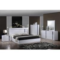 China King Size High Gloss Bedroom Furniture Set Lacquer Painting With White / Blue Color wholesale