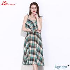 China 89D17256 2018 New Printed Cotton Sleeveless High Waist Women Midi Dress wholesale