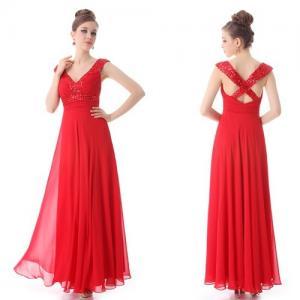 China Red Sleeveless V Neck Prom Dresses Floor Length for Summer , Spring , Autumn wholesale
