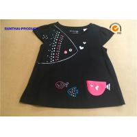 China 3D Fish Cap Children T Shirt Crew Neck Baby Girl Black Long Sleeve Shirt wholesale