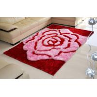 China 3D Rose Flower Polyester Silk Pink or Brown Color Shaggy Carpet Area Rug(3115) wholesale