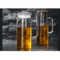 China 60 Ounces Glass Pitcher With Lid , Juice Beverage Carafe Hot Cold Water Jug wholesale
