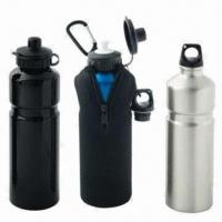China 750ml Aluminum Drinking Bottles with 2 Lids and Zipper Bag on sale