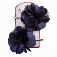 China 5.5cm Bobby Pin with Fabric Flower, Various Colors are Available wholesale