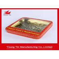 China Christmas Red Candy Gift Tin Containers With Clear PVC Or PET Window YT1155 wholesale