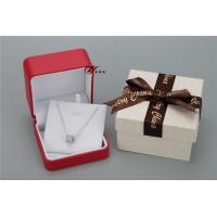 China Sweet Red PU Leather Women'S Jewelry Box With Bowknot Flower Cardboard Outer Box wholesale