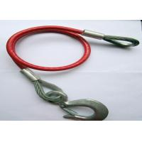 China Red PU Coated Trailer Steel Cable Assembly with Big Snap Spring Hook and Thimble Eye on sale
