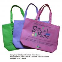 China Purple Handle Foldable Bottom Non Woven Polypropylene Shopping Bags for Kids on sale