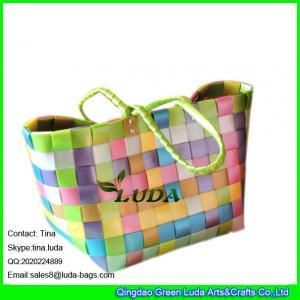 China LUDA fashion plastic handbag colorful pp strap woven sea beach straw bag wholesale