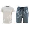 China Cotton Jersey Men'S V Neck Pajamas / Mens T Shirt And Woven Shorts Pyjamas With Side Pockets wholesale