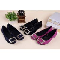 China Hot sales 2014 Genuine leather office lady fashion shoes with rhinestone buckle wholesale