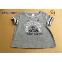 China Overall Size Baby Boy Short Sleeve T Shirt , Heather Gray Kids Short Sleeve Tops wholesale