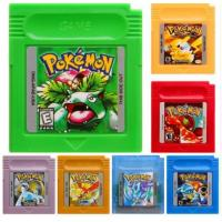 China Wholesale Game Boy Color Game Pokemon GBC Game Pokemon Yellow Red Blue Silver Gold Green Crystal In English Mix Order Fr on sale