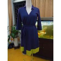 China Fitted Wrap Style Women Office Dress Violet Half Sleeve Summer Dresses High End wholesale