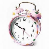 China Alarm Clock with Spot Pattern Design Printing, OEM Orders Welcome, Metal Outer Shell wholesale