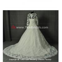China NEW!! Ball gown Long sleeves wedding dress Lace scallop hem evening Bridal gown #AL548 wholesale