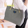 China Grey Canvas Handbags European Style , Black Linen Messenger Bags For Women wholesale