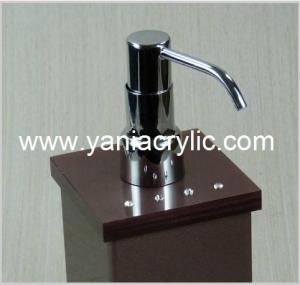 China Brown Rectangle Acrylic Soap Dispenser , Liquid Soap Dispenser Bottle wholesale