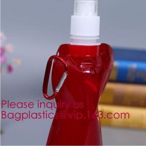 China Environmental Cartoon Foldable Water Bottle Bag,BPA Free Plastic Custom Logo Printed Bottle Foldable Drinking Collapsibl wholesale