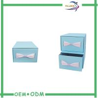China Custom Sliding Paper Gift Boxes Blue / Brown Cardboard Paper Drawer Box wholesale