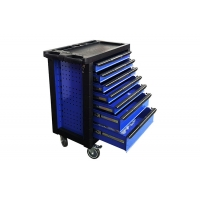 China 770x460x970mm Folding Panel Blue Black 7 Drawer Tool Chest Toolbox Trolley Cabinet wholesale