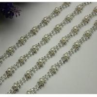 China Excellent luxury design white pearl decorative 10 mm width nickel color chain for bag handle wholesale