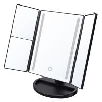 China Tri-fold Makeup Mirror with USB Charging and Battery Supply, Touch Screen, 180°Adjustable Rotation, Countertop Cosmetic wholesale