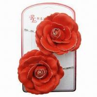 China Bobby Pins with Fake Leather Flower Decoration, Various Colors are Available wholesale