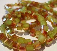decorative glass beads olive-green color