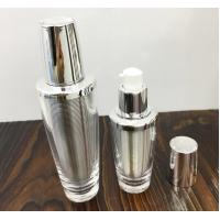 China Empty shiny gold silver acrylic cosmetic lotion pump bottle 30ml  60ml  double wall plastic bottle wholesale