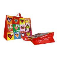 China Coloful PP Woven Shopping Bags Heart Pattern 120gsm Shining Coated Cylinder Printing wholesale