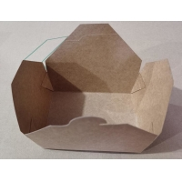 China 1600ml Disposable Kraft Paper Lunch Box , eco friendly Square Salad Lunch Box wholesale