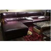 Quality Traditional Design Leather Sectional Furniture / Brown Leather Sectional Couch for sale