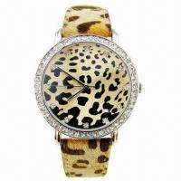 China Fashion Women's Watch in Leopard Leather Strap, Alloy Case with CZ Stone wholesale