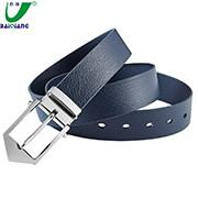 China Quality Custom Logo Blue Leather Mens Golf Belts for Men wholesale